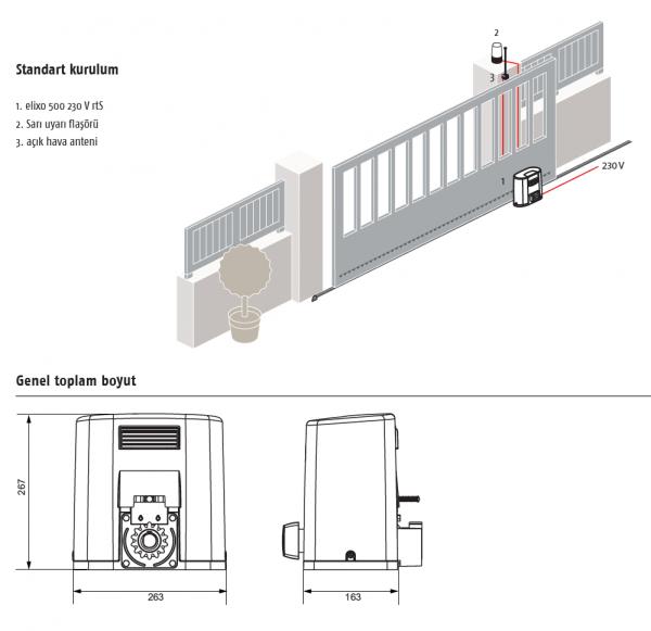 Somfy Elixo 500 230 V RTS yana kayar bahçe kapısı motoru kurulum ve aksesuarları