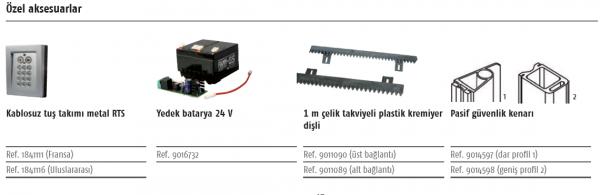 Somfy Elixo 500 3S RTS Yana Kayar Kapı Motoru Özel Aksesuarlar