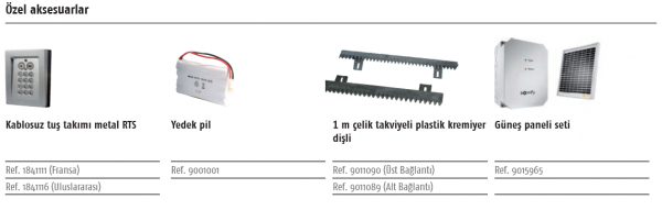 Somfy Elixo Optimo 24 V RTS Özel Aksesuarlar