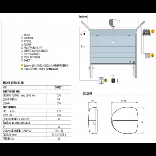 Nice Seksiyonel Kapı Motoru, Spin Bus 22 KCE Kit