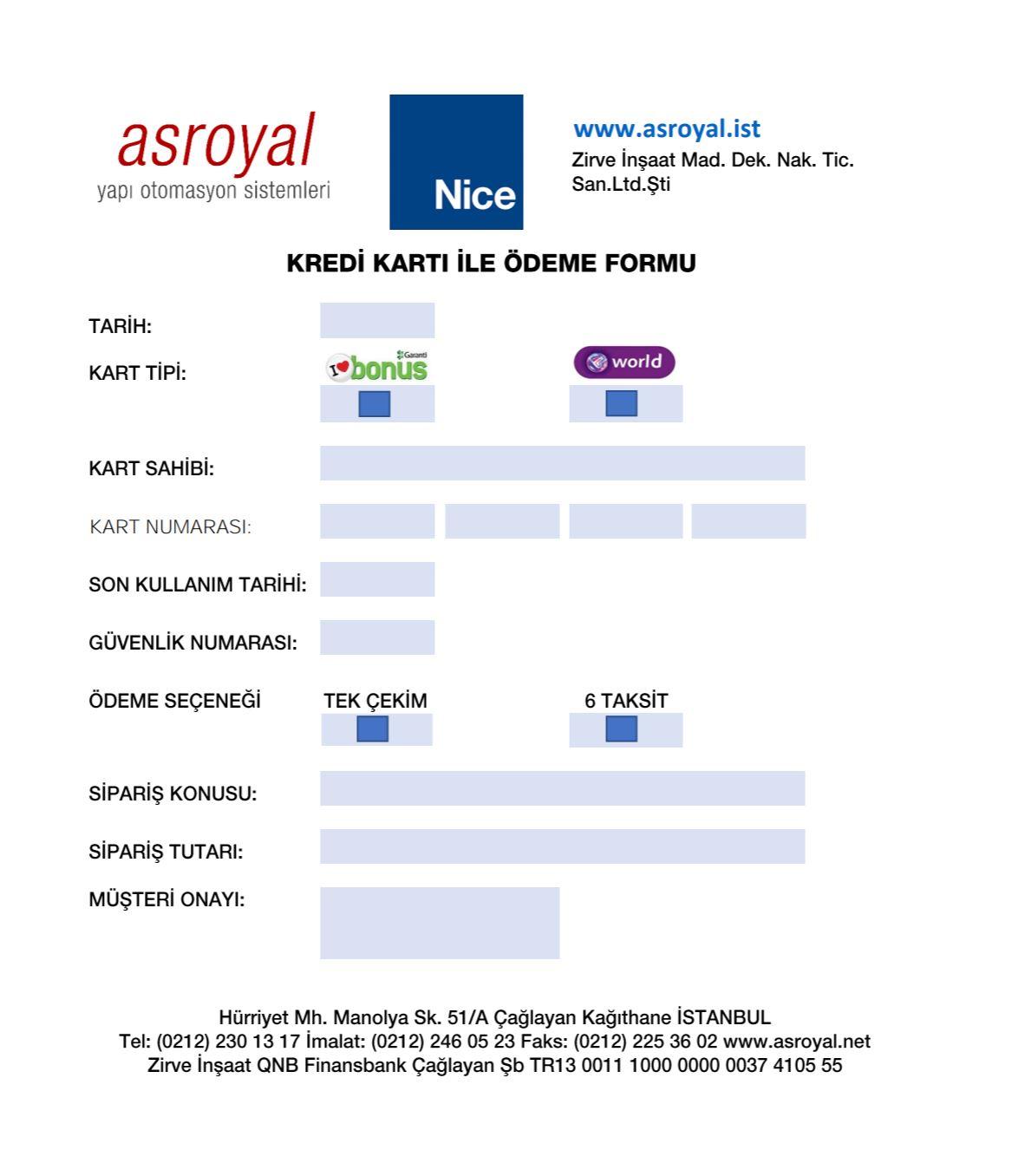 Nice Mail Order formu